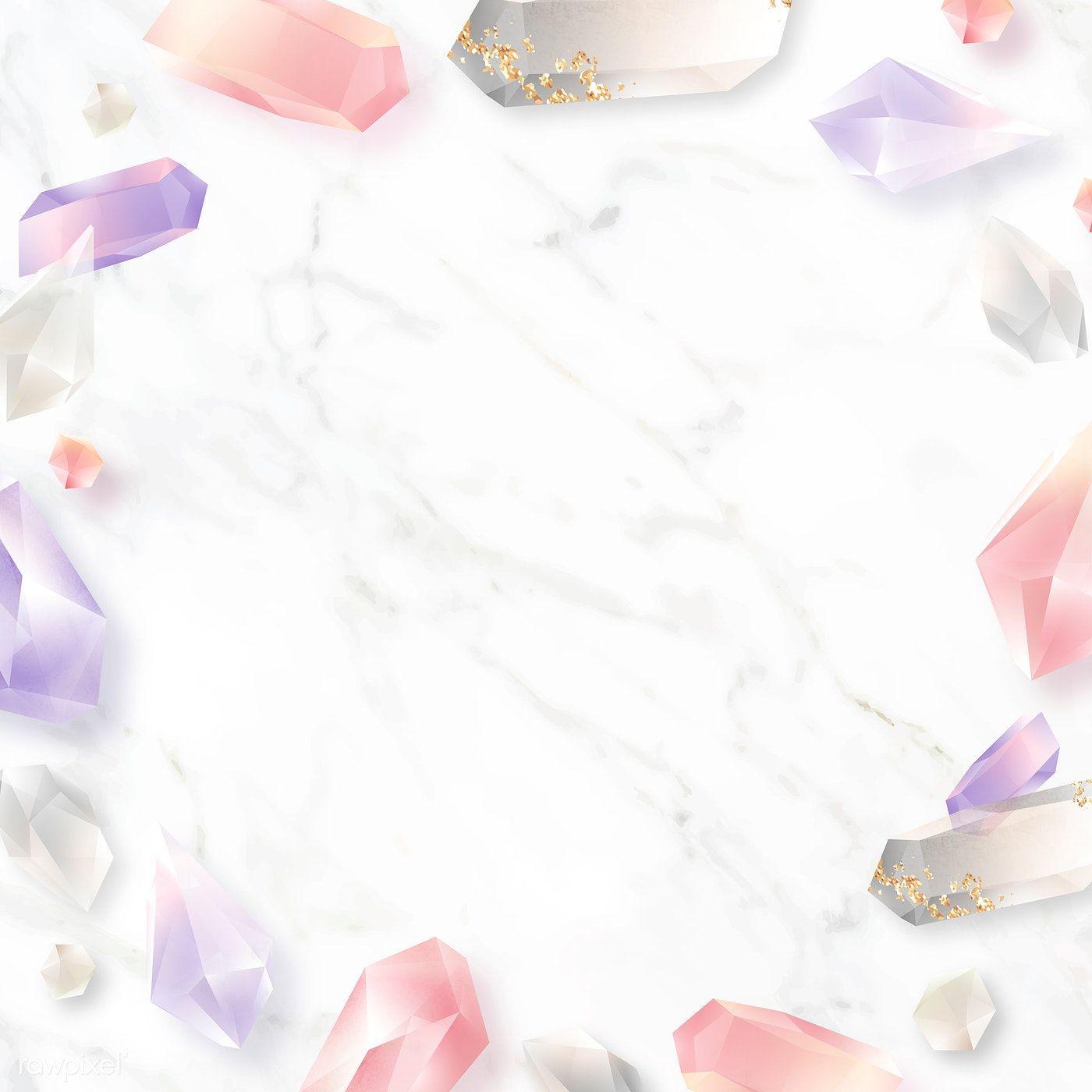 Download Premium Vector Of Colorful Crystal Frame Design On Marble Frame Design Marble Background Frame