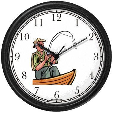 Special Offers - Old Fisherman or Man in Boat Fishing Wall Clock by ...