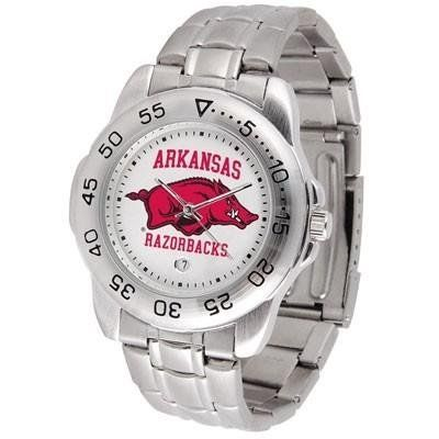 Arkansas Sport Men's Steel Band Watch by SunTime. $54.95. This handsome, eye-catching watch comes with a stainless steel link bracelet. A date calendar function plus a rotating bezel/timer circles the scratch resistant crystal. Sport the bold, colorful, high quality logo with pride.. Save 24%!