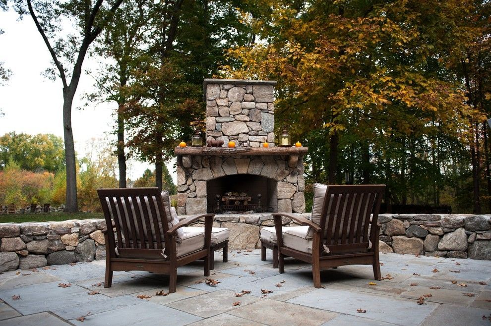 Natural Stone Fireplaces With Hickory Rustic Fireplace Surrounding