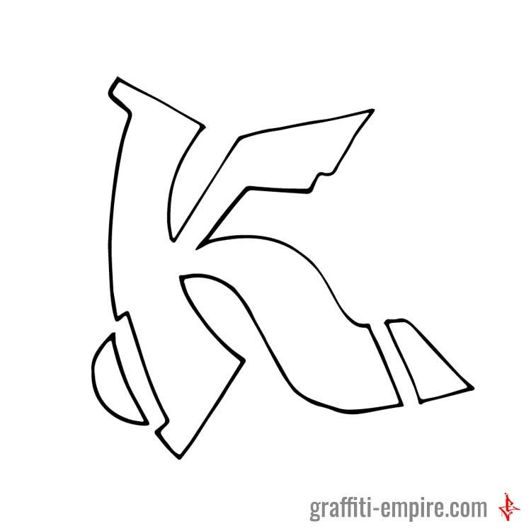 K Semi Wildstyle Graffiti Letter