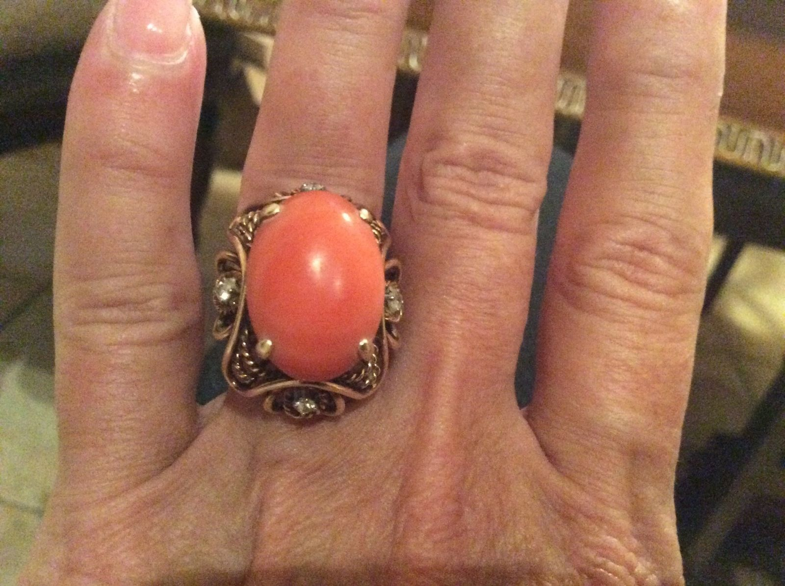 awesome CORAL14k GOLD VINTAGE / ANTIQUE RING WITH DIAMONDS   Check more at http://harmonisproduction.com/coral14k-gold-vintage-antique-ring-with-diamonds/
