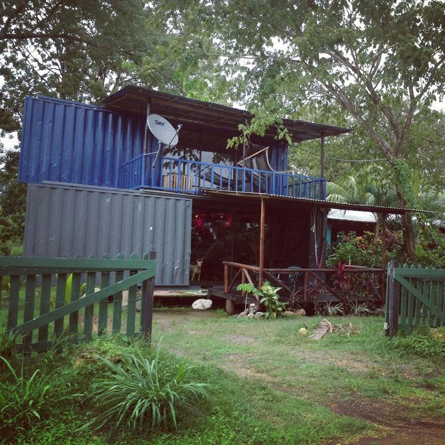 A Tiny Home Comprised Of Two Stacked Shipping Containers In Costa Rica.