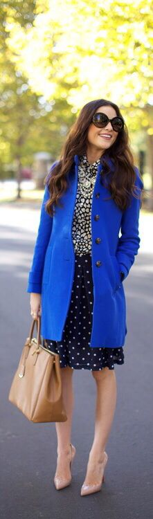 Love the blue over coat