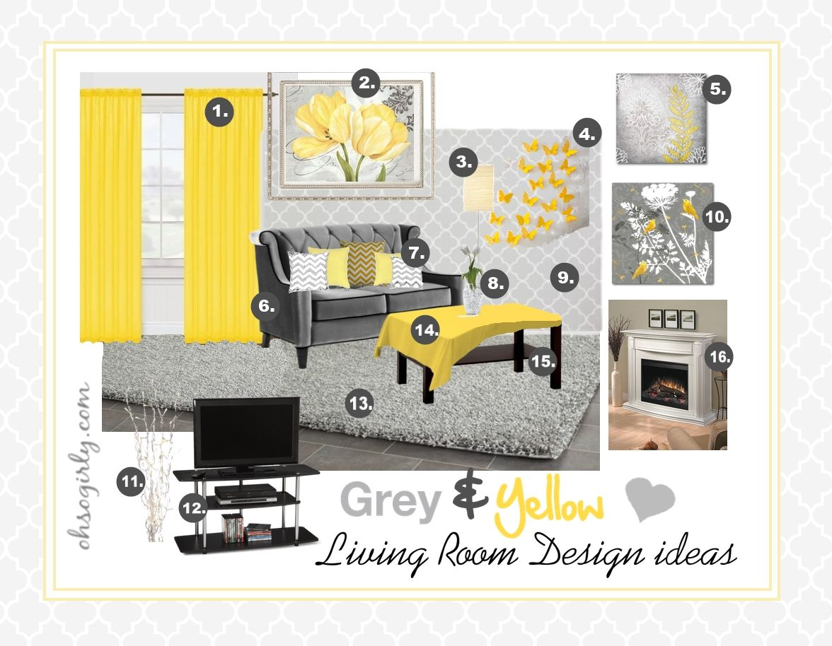 Yellow And Grey Living Room Interior Design Idea Inspiration #gray #stylish  Retro Style Sitting Part 73