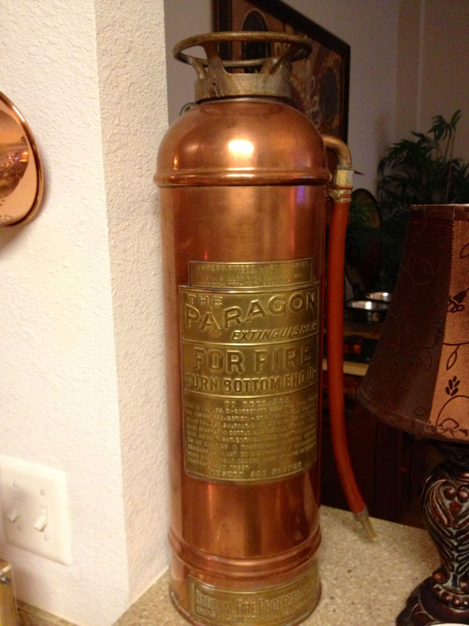 fire extinguisher for kitchen use glass knobs cabinets antique copper a great piece in my
