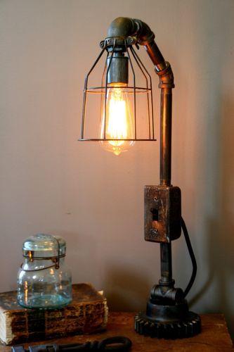 Steampunk Lamp Art Machine Age Salvage Steam Gauge Light Boiler Room