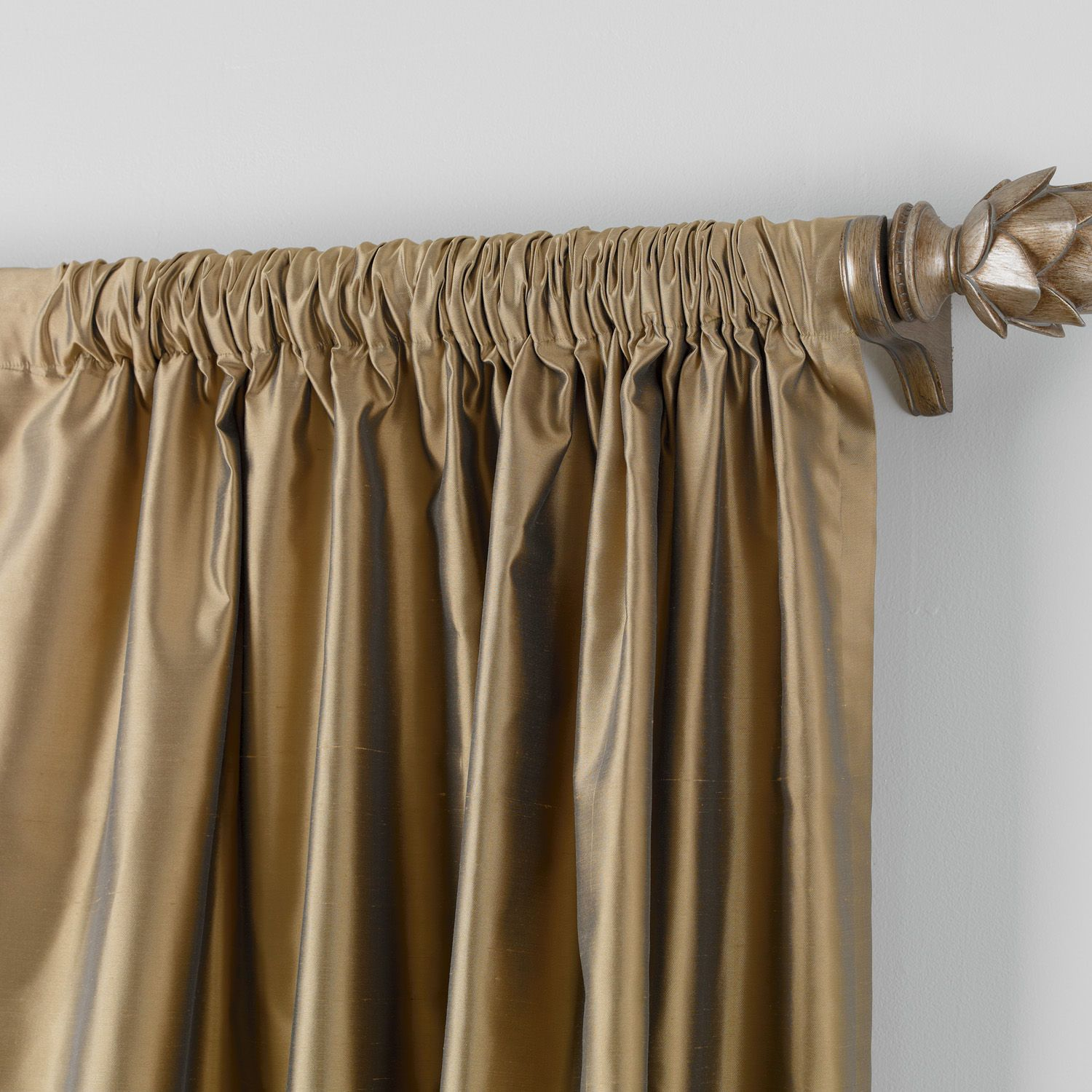 Bronze Satin Dupioni Rod Pocket Panel Ethan Allen Us