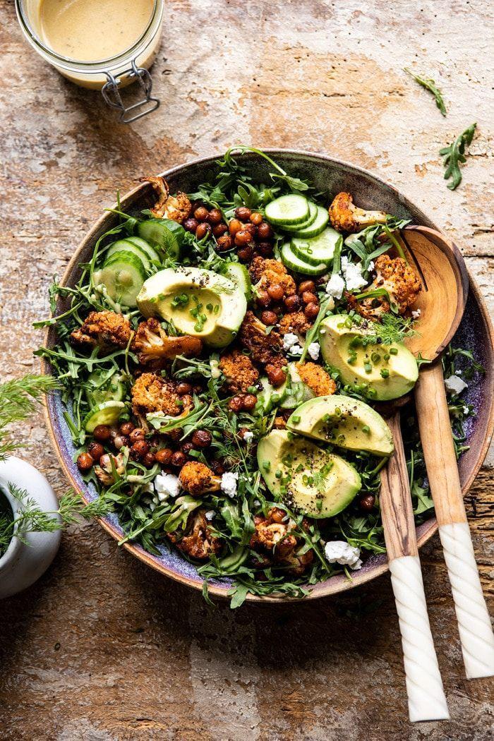 Roasted Cauliflower Salad with Creamy Honey Mustard Vinaigrette. -   - #beetatto #cauliflower #creamy #crockpotrecipes #dinnerrecipes #foottatto #healthyrecipes #honey #mustard #paleorecipes #recipeseasy #roasted #salad #tattofamily #vinaigrette