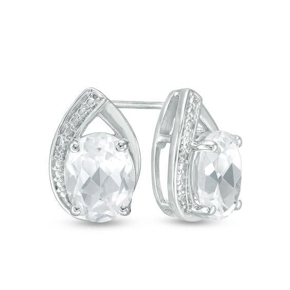 Zales Oval Lab-Created White Sapphire Solitaire Stud Earrings in 10K Gold WxFMsG1T