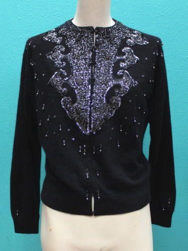 Lovely Vtg 50s Dramatic Black Sequin Beaded Soft Angora Pin Up ...
