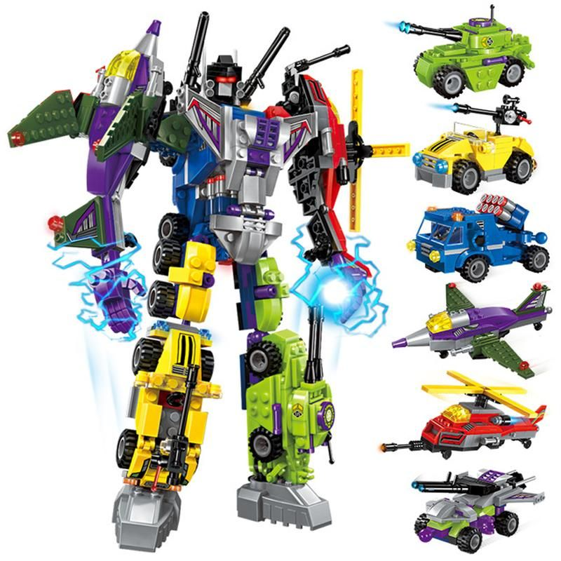 Construction Kits Transformers Mech Battle Figure Toy Gift Model 6in1 Child
