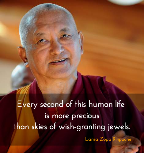 Every second of this human life ~ Lama Zopa Rinpoche http://justdharma.com/s/i4une  Every second of this human life is more precious than skies of wish-granting jewels.  – Lama Zopa Rinpoche  source: http://www.lamayeshe.com/index.php?sect=article&id=336&chid=1399