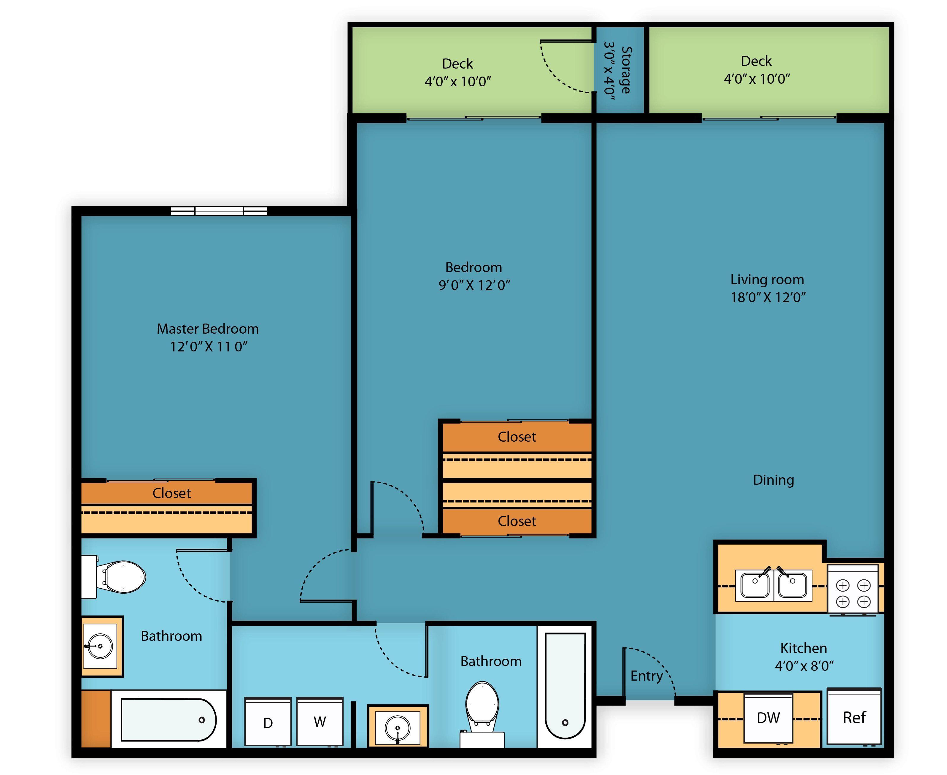 2 Bedroom 2 Bath 980 Sq Ft Floor Plans Kitchens Bathrooms How To Plan