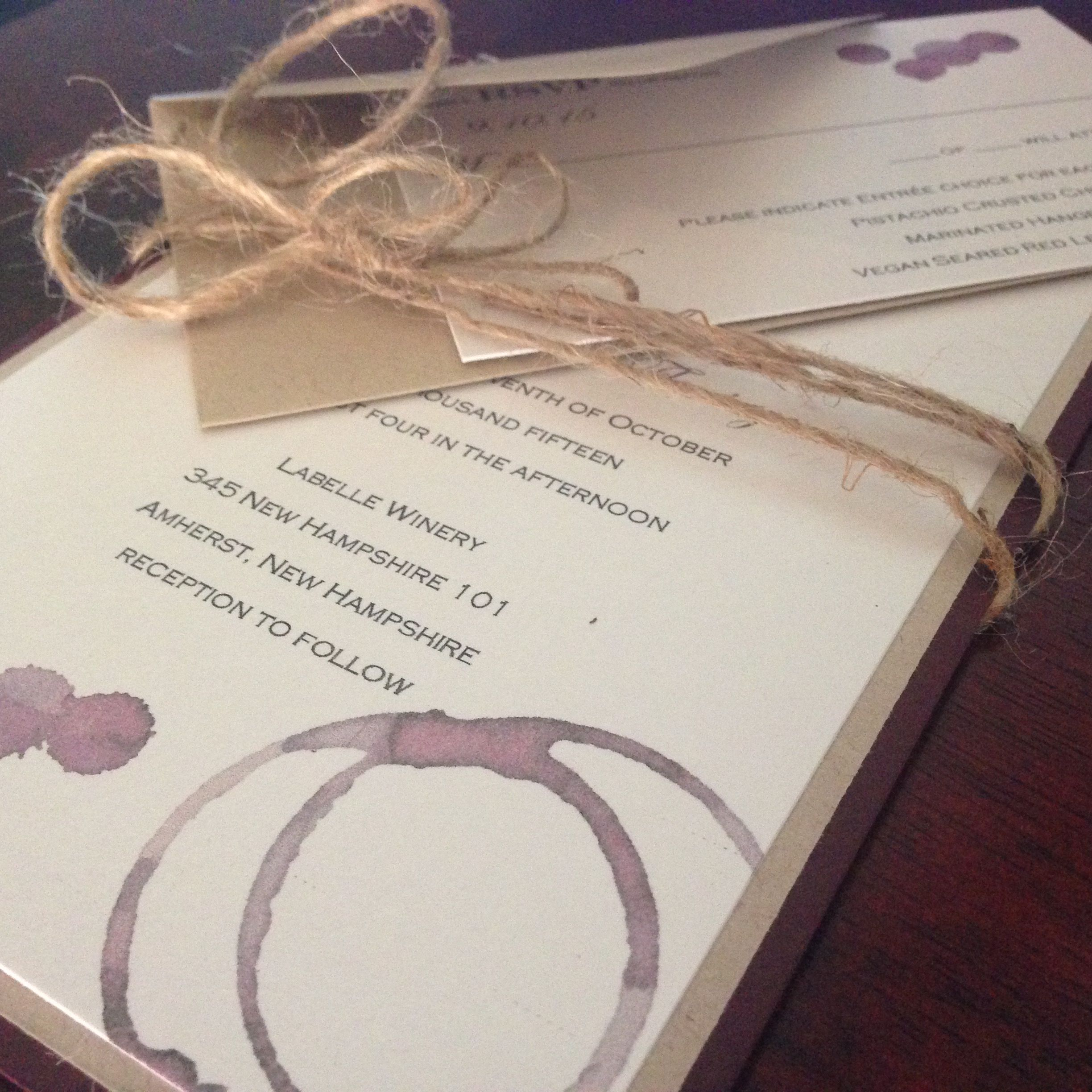 Wine Stained Wedding Invitations For This Winery Wedding By The~Lil~Things  Las Vegas