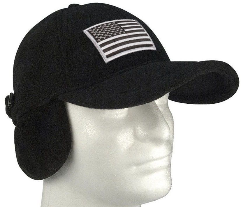 2aad74f0b37 Black Polar Fleece Tactical Cap Hat w  Earflaps and Silver Velcro Patch