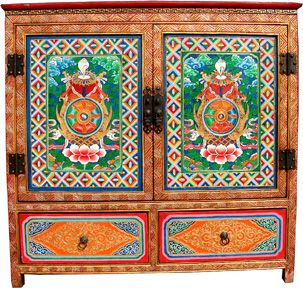 Tibetan Buddhist Offering Cabinets Certified Antiques With COA