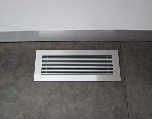 Our Most Popular Finish Our Brushed Chrome Floor Grille Is Brush Finished By Hand And Clear Coated To Create A Floor Vents Floor Registers Flooring For Stairs