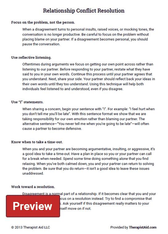Relationship Conflict Resolution (Worksheet) Therapist