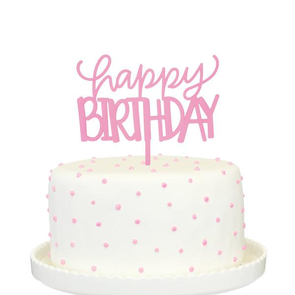 Awesome Pink Happy Birthday Cake Topper With Images Happy Birthday Personalised Birthday Cards Paralily Jamesorg
