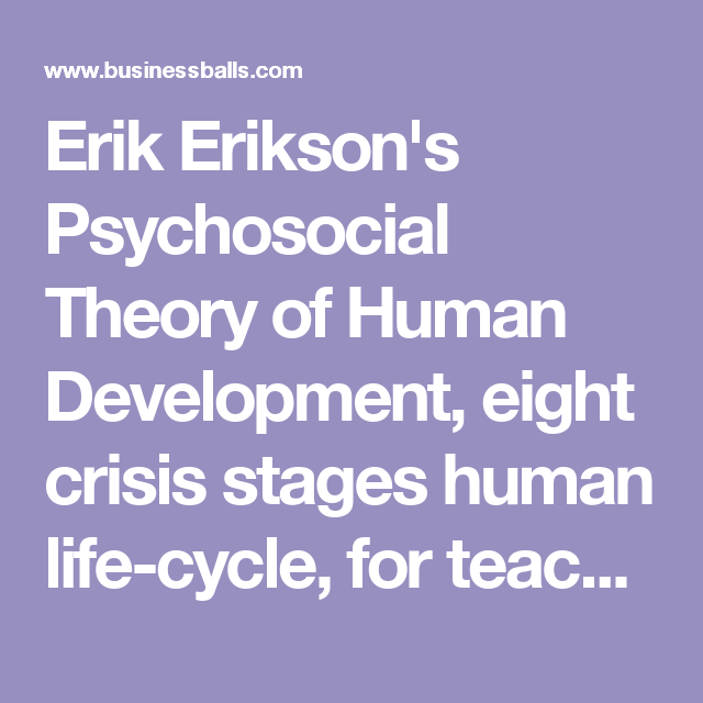 erik erikson s psychosocial theory of human development eight  erik erikson s psychosocial theory of human development eight crisis stages human life cycle