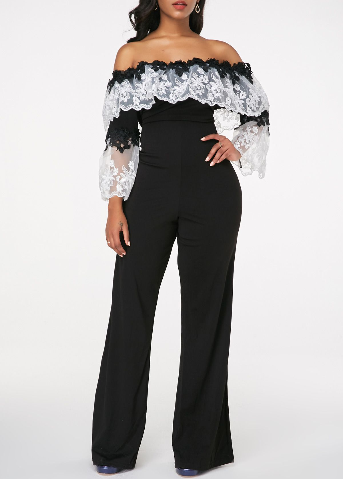 7ec1568e6af6 Lace Panel Off the Shoulder Black Jumpsuit | Rotita.com - USD $34.35 ...