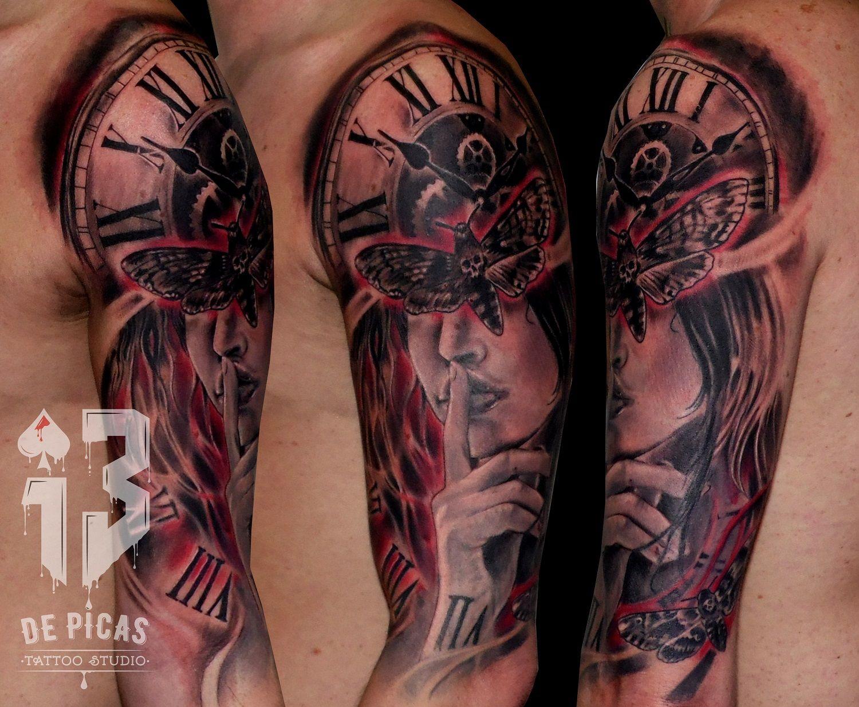 13depicas Com Tatuaje Reloj Engranajes Chica Silencio Jaca