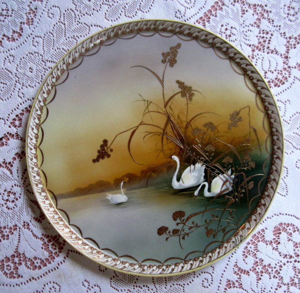 Antique nippon noritake hand painted heavy gold charger cake plate antique nippon noritake hand painted heavy gold charger cake plate three swans reviewsmspy