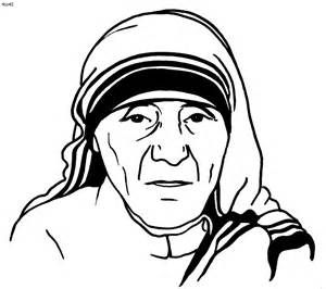 Mother Teresa Coloring Page Sketch Template