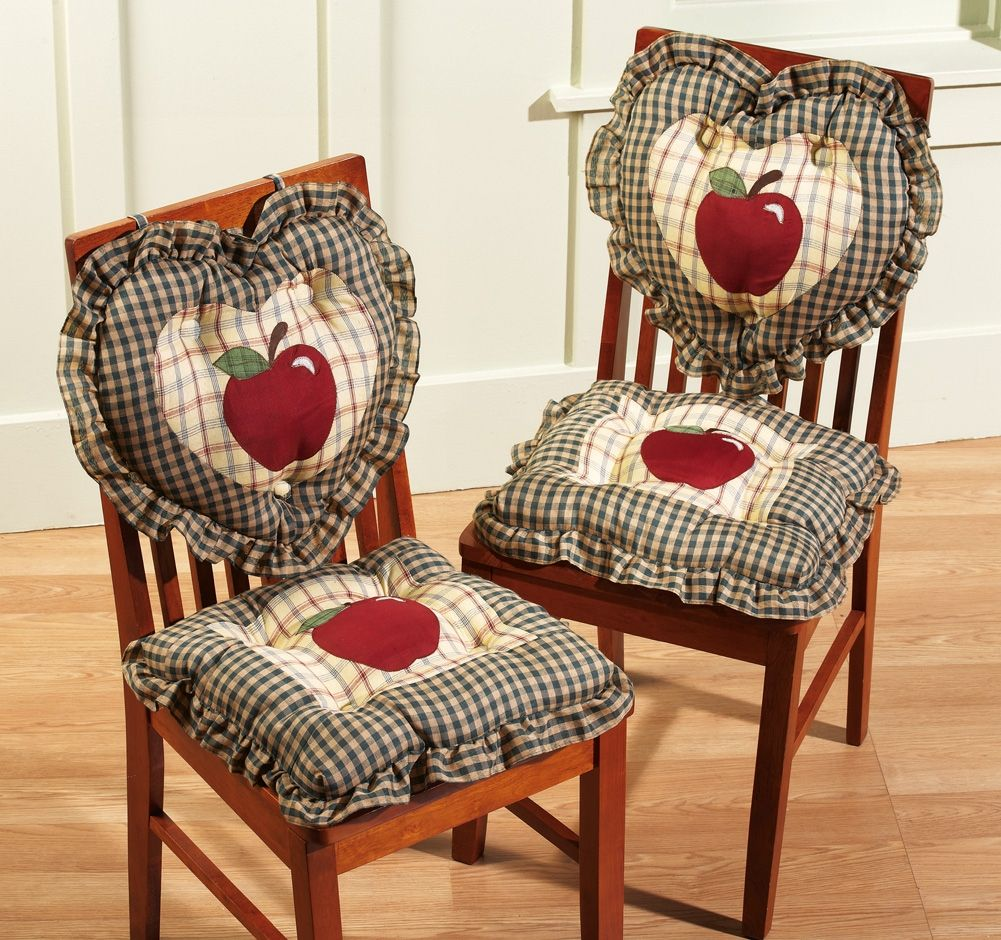 set of 2 2pc country plaid apple kitchen chair cushions. Black Bedroom Furniture Sets. Home Design Ideas