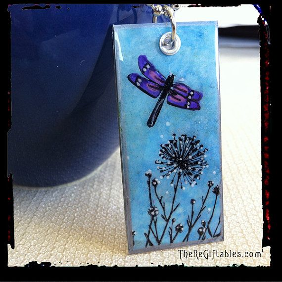 Dragonfly necklace - made out of a recycled Starbucks card.