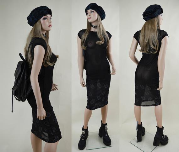 SALE 90s Grunge Goth Black Sheer Mesh Stretchy Cap Sleeve See Through Midi Dress XS / S #grungegoth