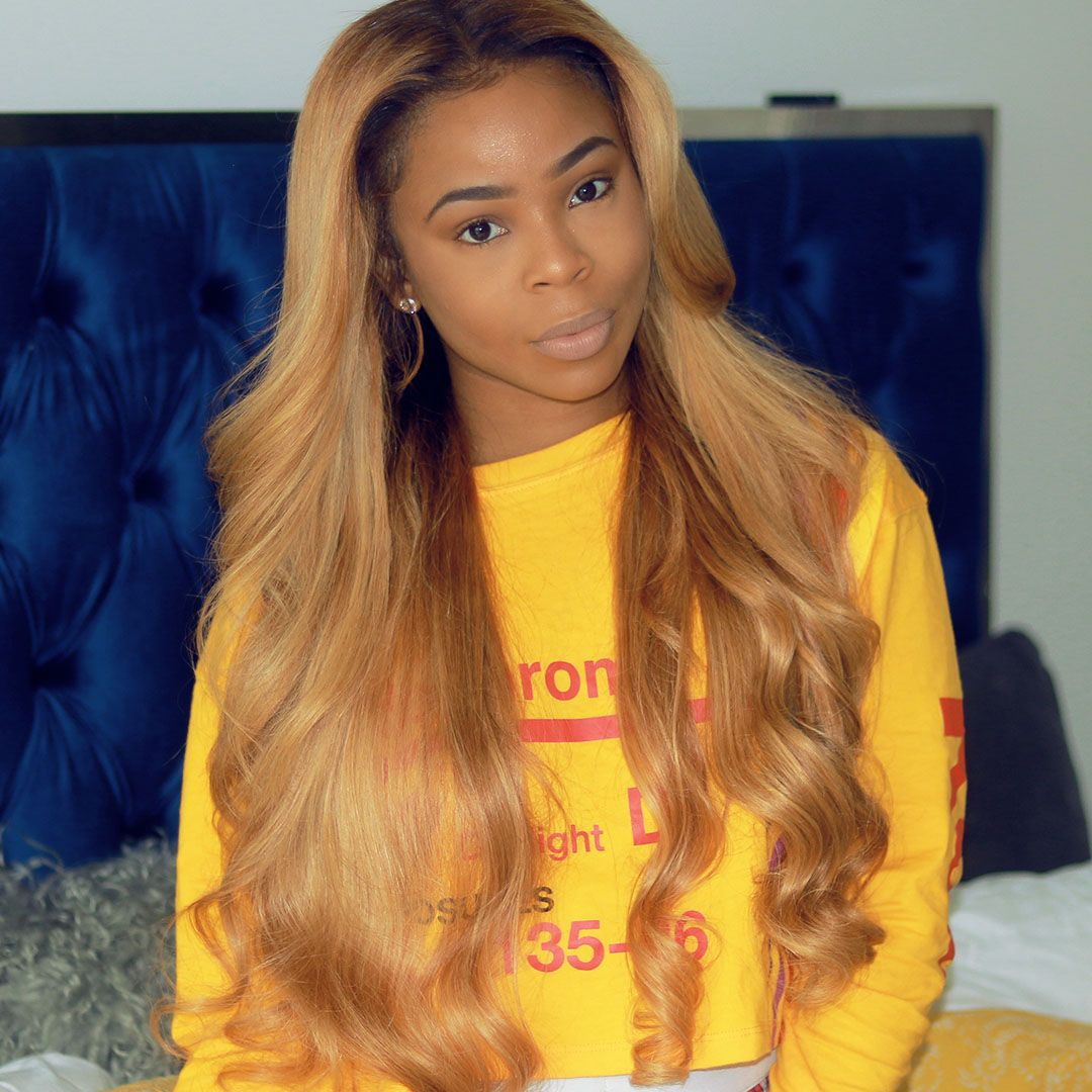 Blonde Brown Black Roots Lace Front Middle Part Made By Simone