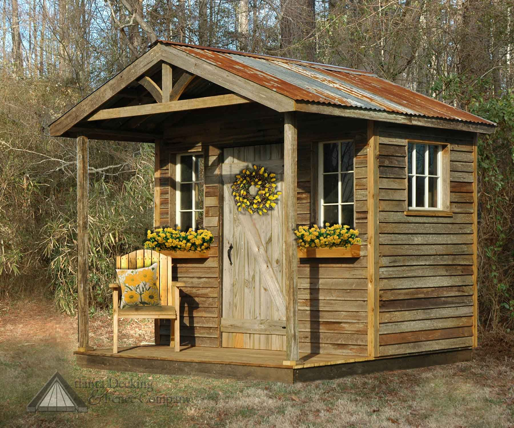 Rustic Garden Shed Designed And Built By Atlanta Decking Fence