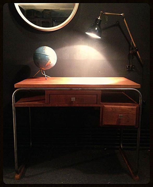 Bureau Vintage Marque Torck Bois Et Structure Tubulaire En Acier