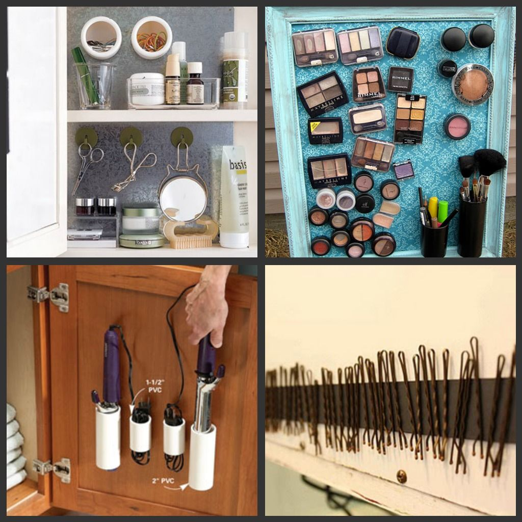 Best way to organize makeup and hair products....magnetic strips ...