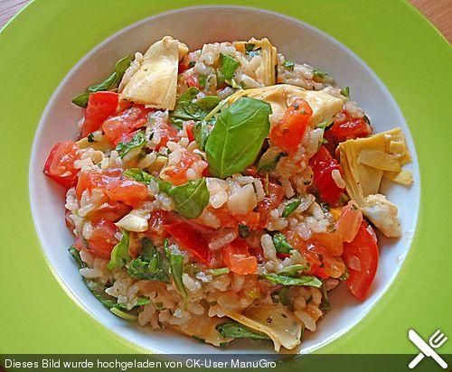 Gemüse - Risotto mit Artischockenherzen, Tomaten und Rucola