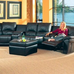 Leather Media Sectional Sofa
