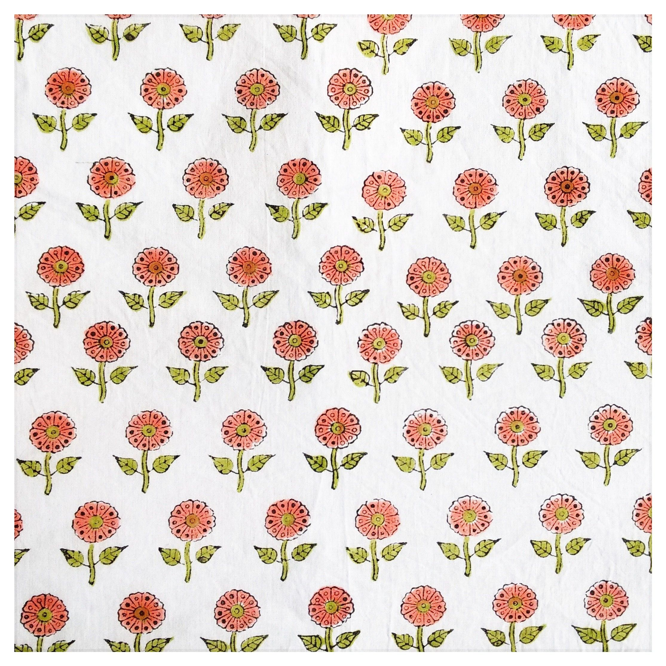 """5 Yd Cotton Fabric 44"""" Wide Floral Print Sewing Apparel Dress Drape Indian Cloth"""
