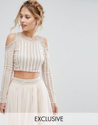 ca649dfc7d8fd7 Lace & Beads Cold Shoulder Embellished Crop Top Co Ord | South Asian ...