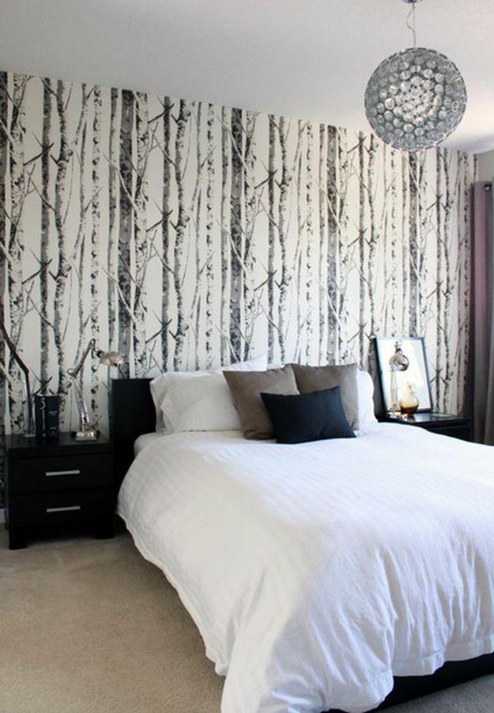 chambre-a-coucher-papier-peint-leroy-merlin-noir-et-blanc-lit-avec ...
