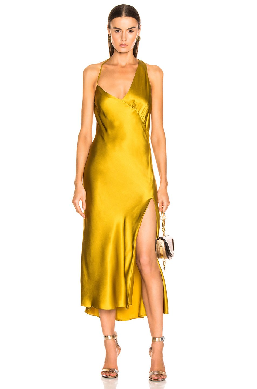 21b9908ea810 Michelle Mason Gathered Slip Dress in Citron | FWRD | Things I Want ...