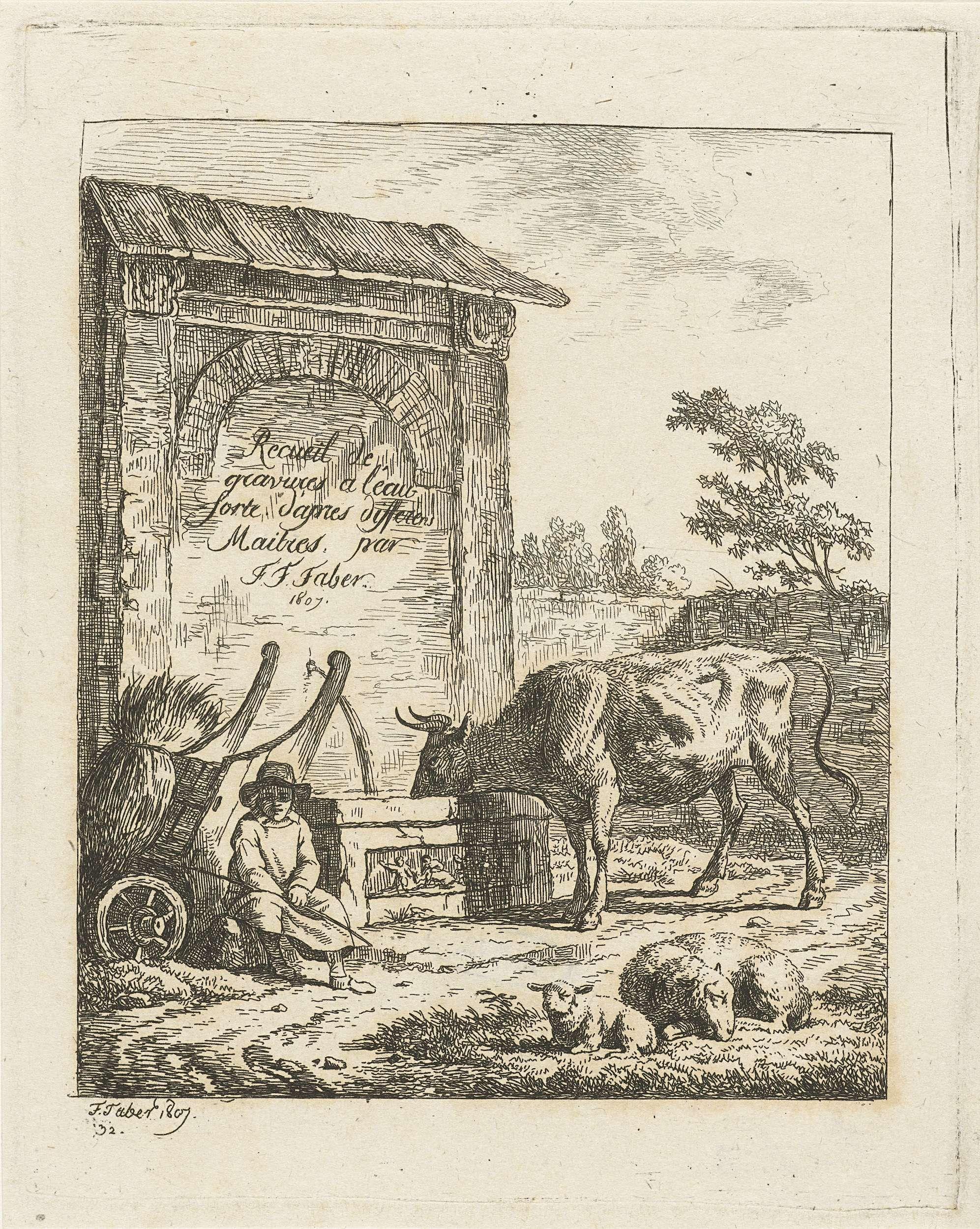 Frédéric Théodore Faber | Rund drinkend bij fontein, Frédéric Théodore Faber, 1807 | Naast een fontein met een afdakje zit een jongen bij een kar met stro. Een rund drinkt uit de waterbak van de fontein. Op de voorgrond een schaap en een lammetje.