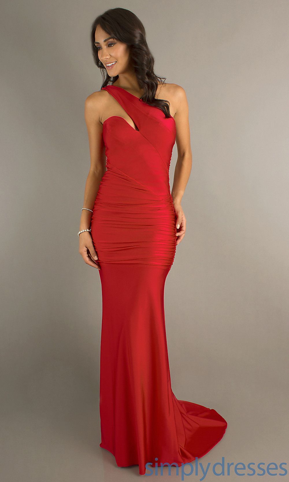 This might be the one heart ball one shoulder red dress at