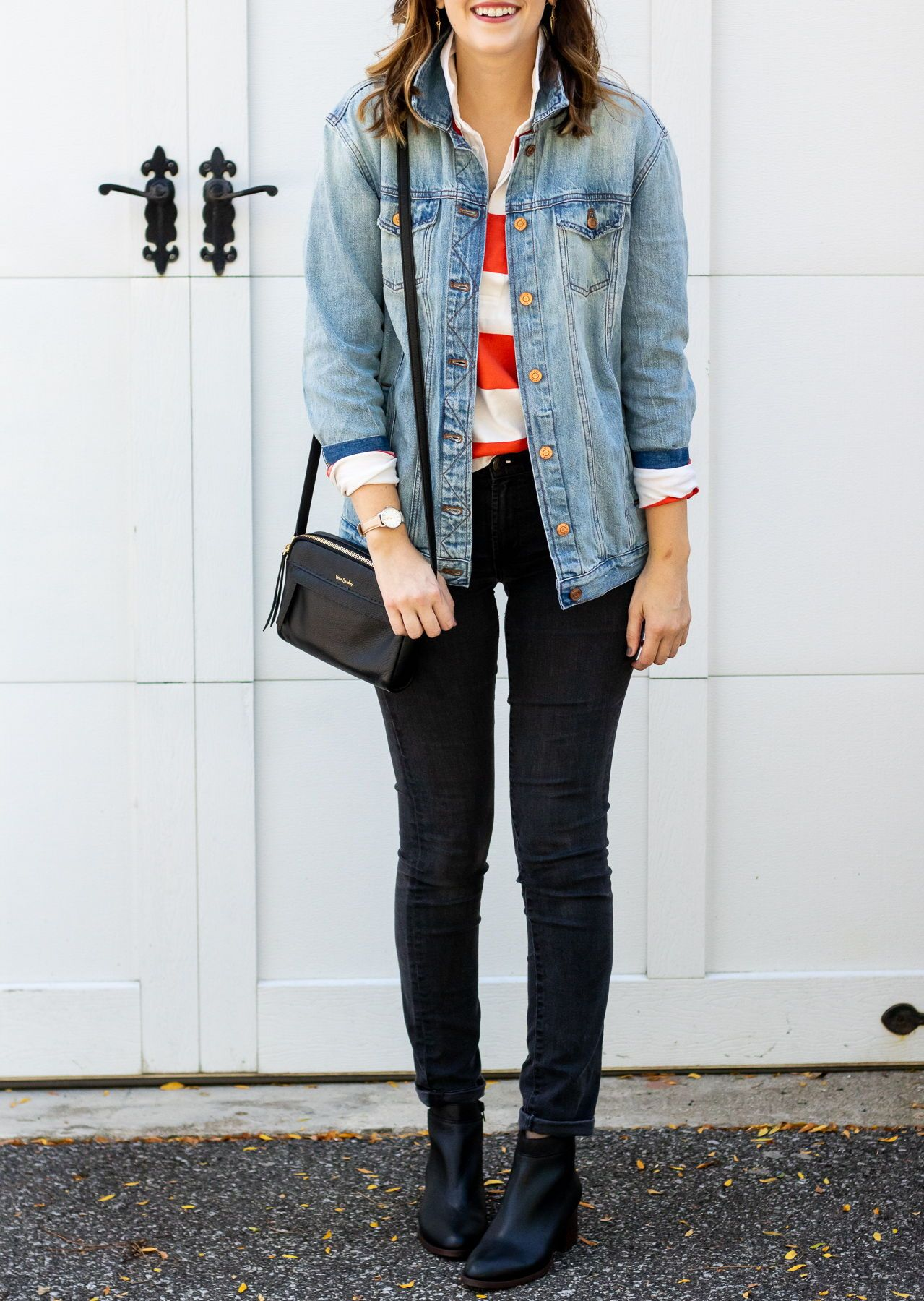 Borrowed From The Boys Girl Meets Stripes Outfits With Leggings Denim Outfit Menswear Inspired Outfit [ 1800 x 1279 Pixel ]