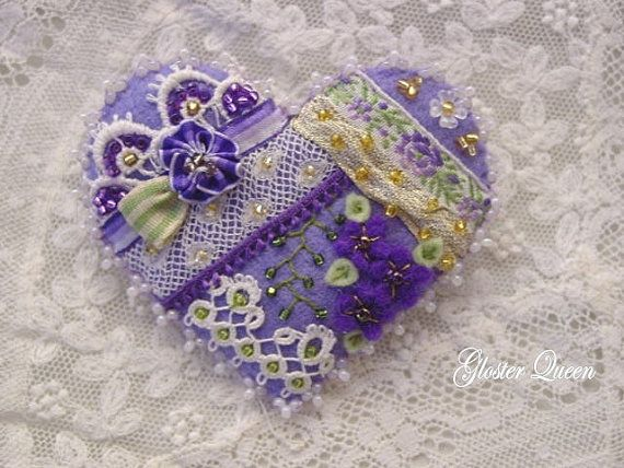 Purple Passion!!!  Crazy quilt heart pin by GlosterQueen on Etsy, $37.50