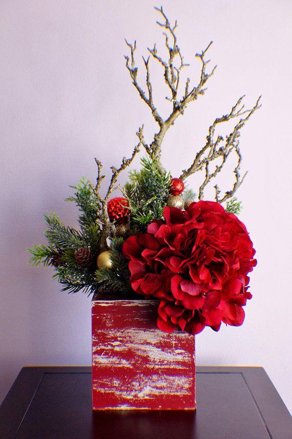 Silk Flower Arrangement Ready To Ship Christmas Arrangement
