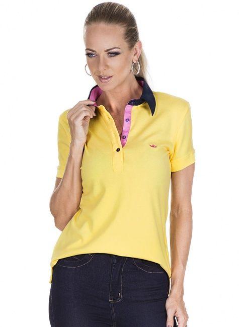 camisa polo feminina amarela nayara