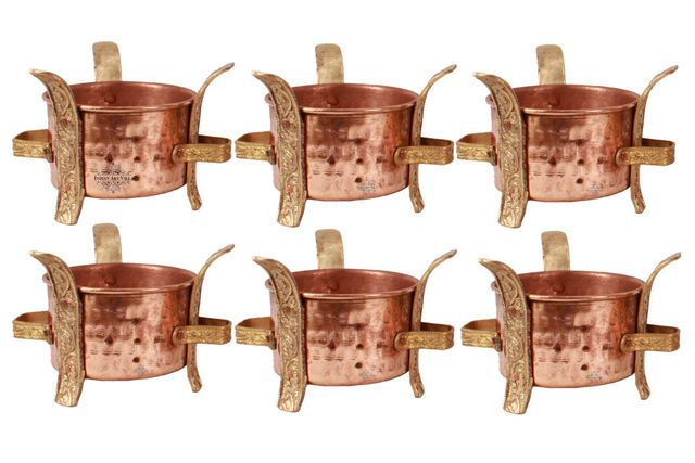 Indian copper brass set of 6 sigri food warmer angeethi for Angeethi authentic indian cuisine