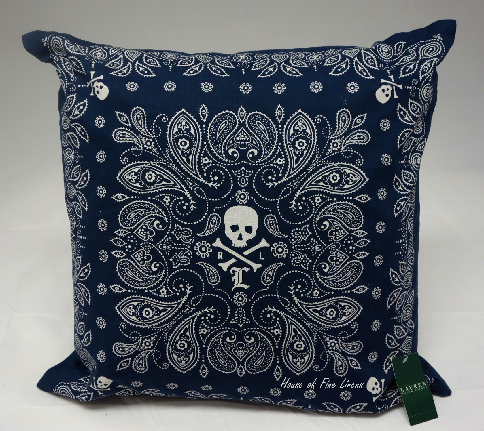 Ralph Lauren University Tate Skull Bandana 20 Navy Decorative Pillow